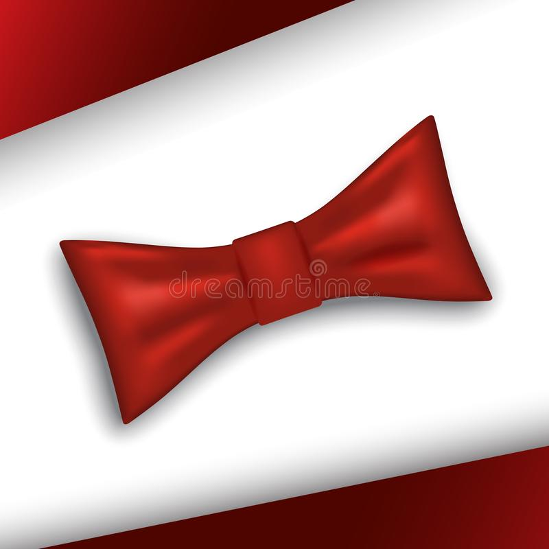 Bow tie or neck tie simple vector icon isolated on white. Background. Realistic 3d vector illustration of red silk or satin bowtie stock illustration