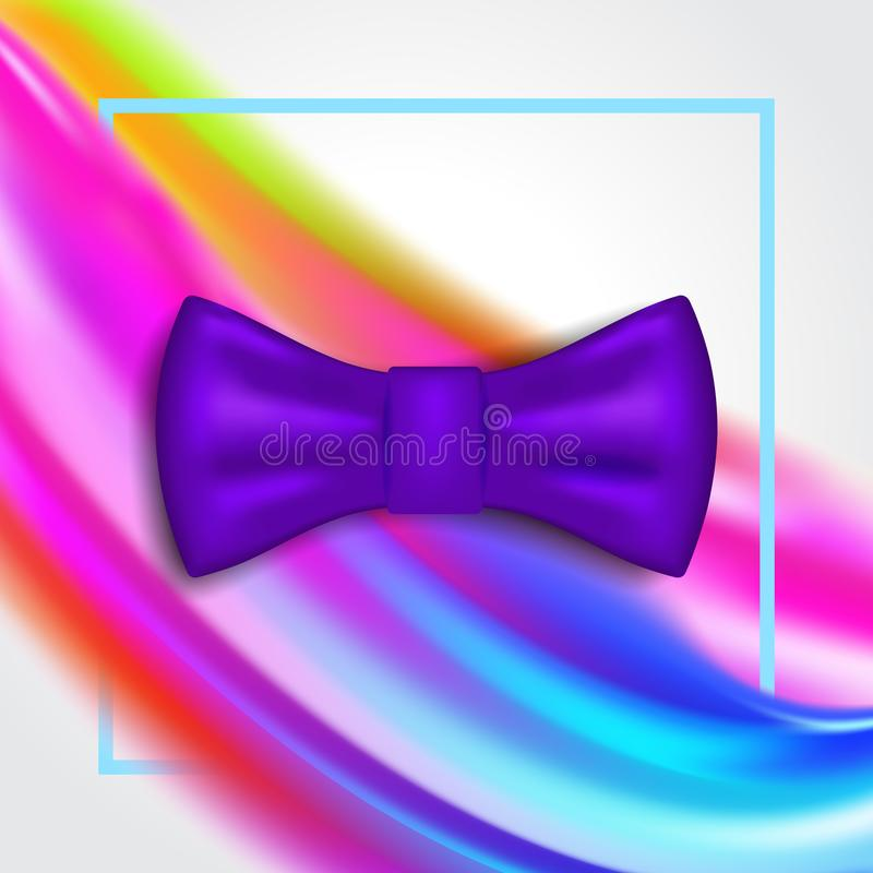 Bow tie or neck tie simple vector icon isolated on white. Background. Realistic 3d vector illustration of silk or satin bowtie royalty free illustration