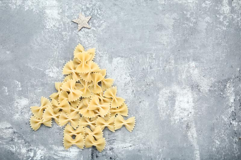 Bow tie pasta in shape of christmas tree stock images