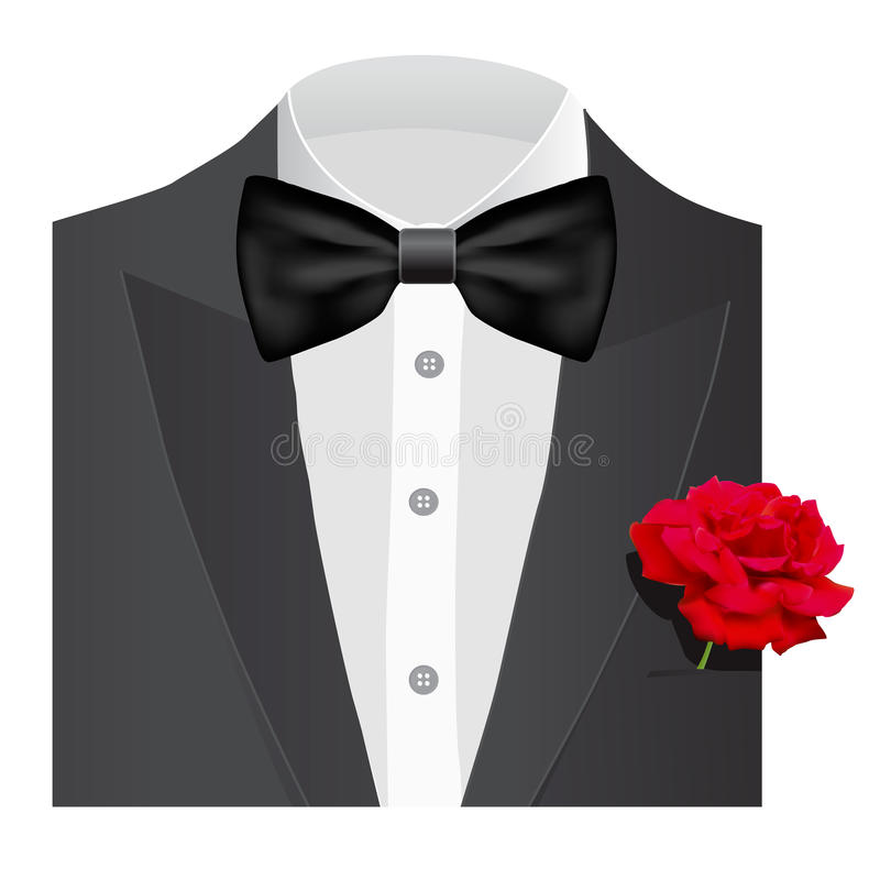 Bow tie with rose royalty free illustration