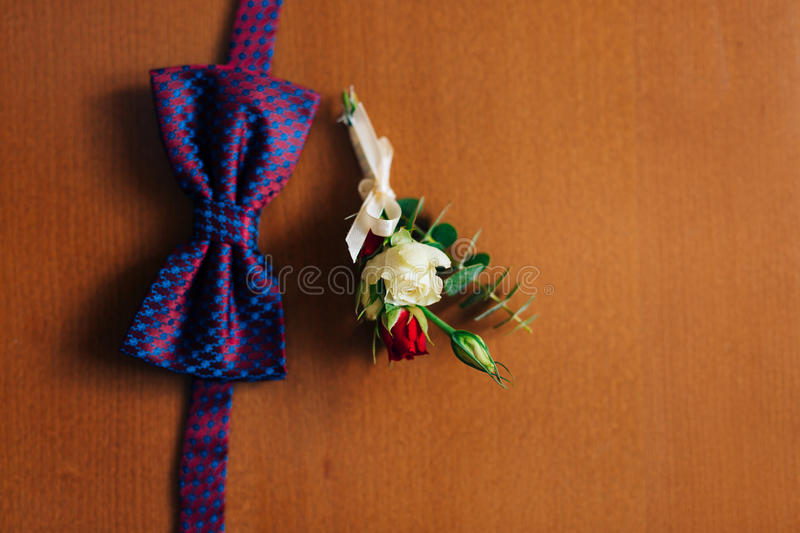 Bow tie on a wooden background stock image
