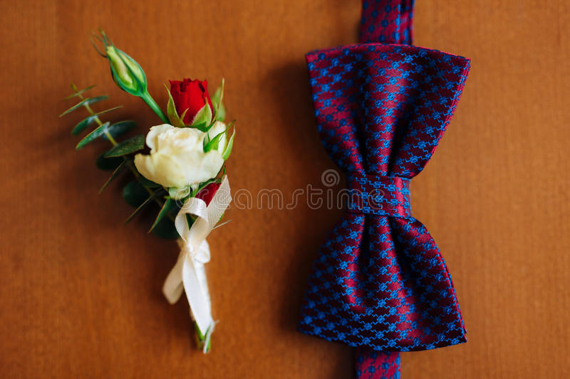 Bow tie on a wooden background stock photography