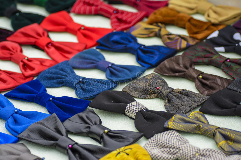 Bow ties. Handmade colorful bow ties, exposed for sale stock images
