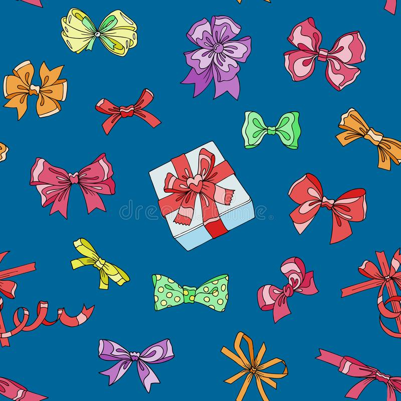 Bow vector bowknot or ribbon for decorating gifts on Christmas or Birtrhday illustration set of girlish bowed tie or. Ribboned presents on holidays celebration stock illustration