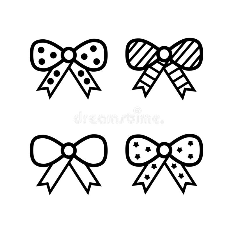 Bow vector icon, knot, set, collection. Ribbon. decor, decoration. knots, bows gift box package holiday surprise present margarita cocktail event bar royalty free illustration