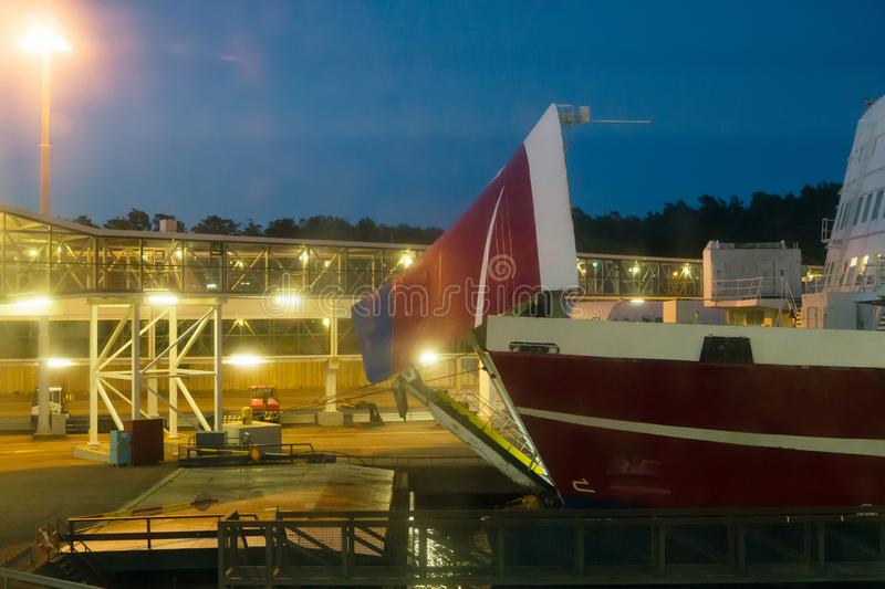Bow visor. Of the passenger ship in the port at night stock photo