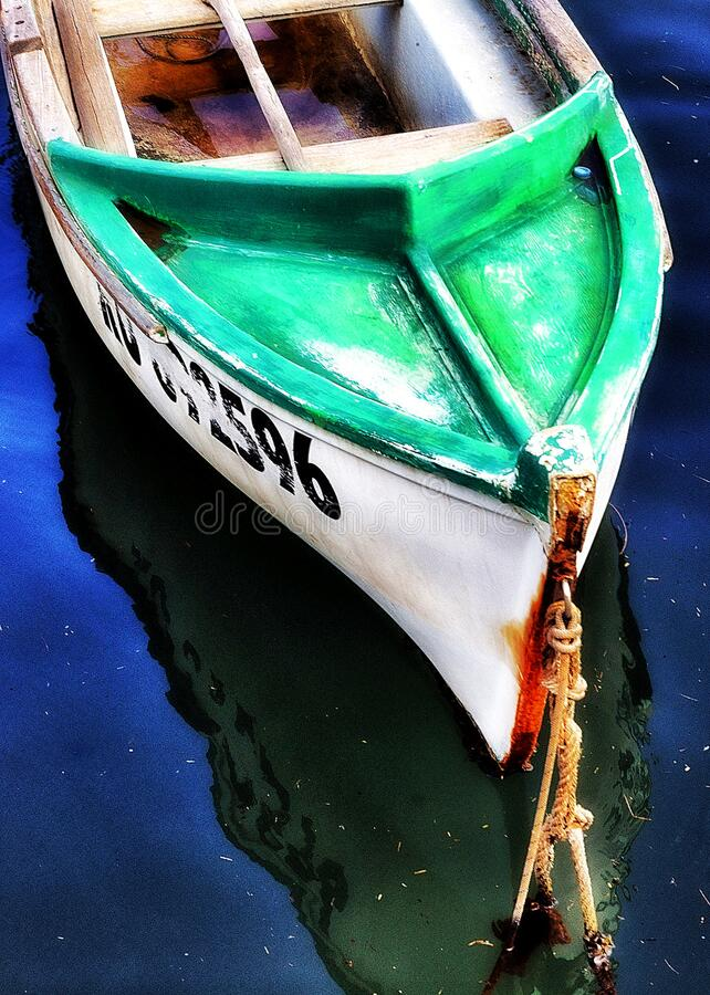 Bow of wooden boat royalty free stock image
