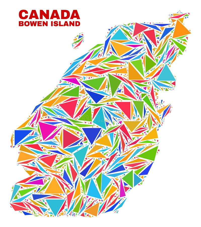 Bowen Island Map - Mosaic of Color Triangles. Mosaic Bowen Island map of triangles in bright colors isolated on a white background. Triangular collage in shape vector illustration