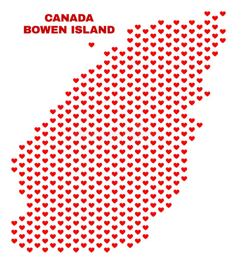 Bowen Island Map - Mosaic of Valentine Hearts. Mosaic Bowen Island map of heart hearts in red color isolated on a white background. Regular red heart pattern in vector illustration