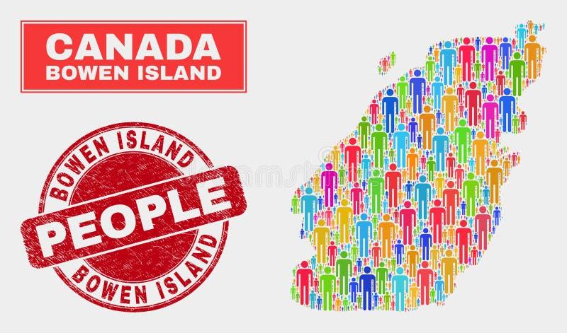 Bowen Island Map Population People and Grunge Stamp. Demographic Bowen Island map illustration. People colorful mosaic Bowen Island map of men, and red round stock illustration