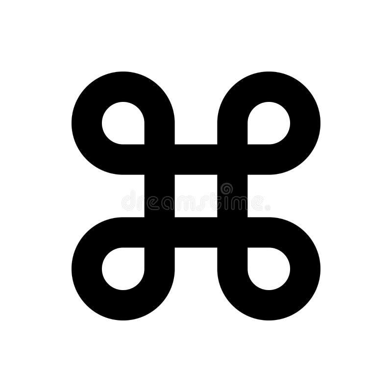 Bowen kępki symbol dla nakazowego klucza Prosta płaskiego czerni ilustracja ilustracji