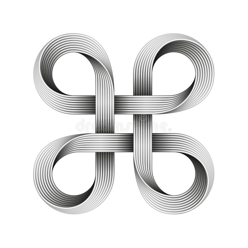 Bowen knot sign made of metal cables. Command key symbol. Vector illustration. Isolated on white background royalty free illustration