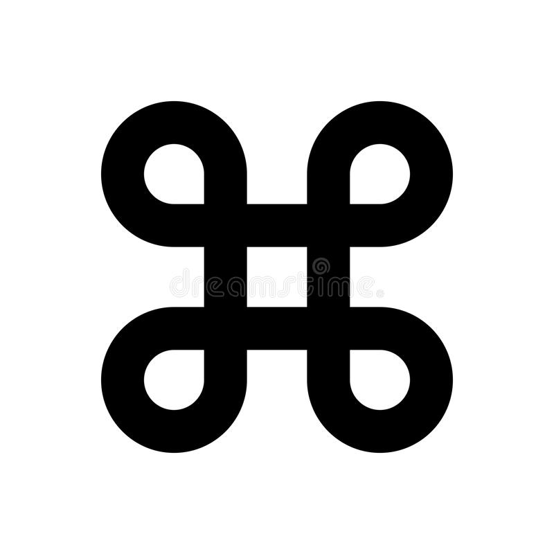 Bowen knot symbol for command key. Simple flat black illustration. On white background stock illustration