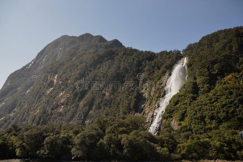 Bowen vattenfall Milford Sound royaltyfria foton
