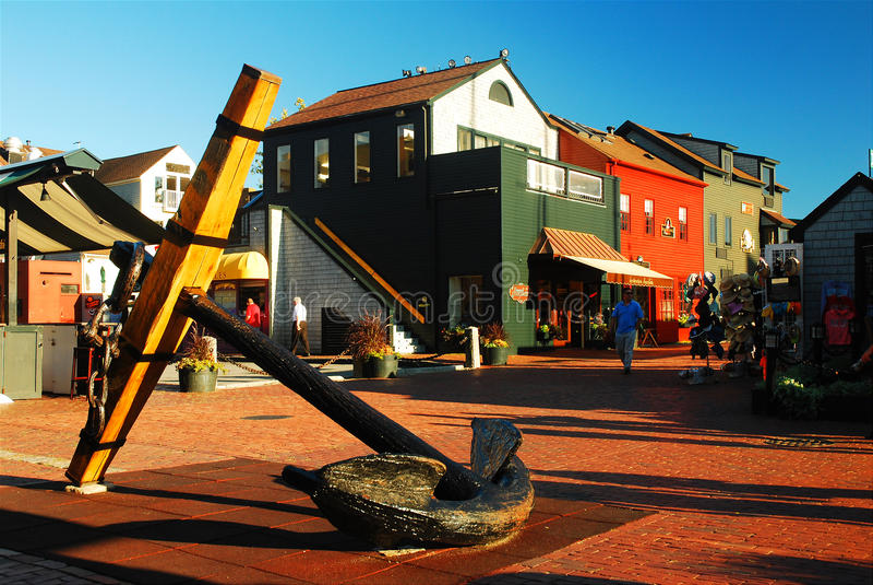 Bowens Wharf, Newport Rhode Island. A landmark anchor in nautical Bowen's Wharf, Newport royalty free stock images