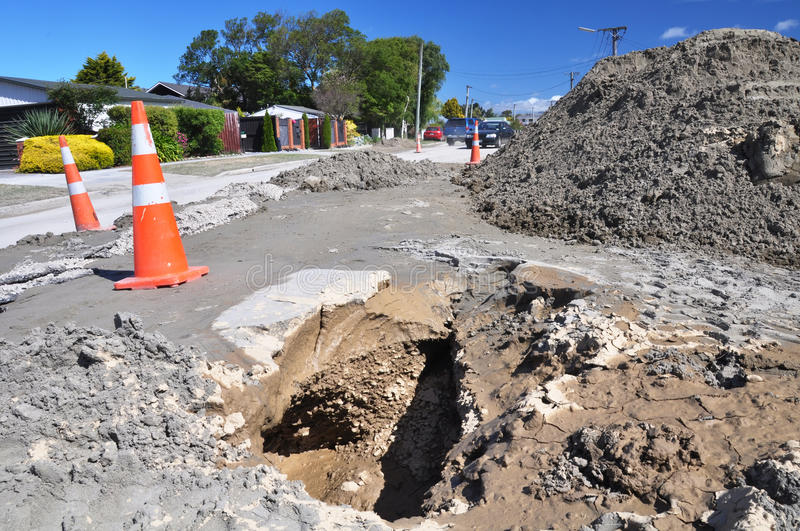 Bower Avenue Liquefaction, Christchurch Earthquake royalty free stock photography