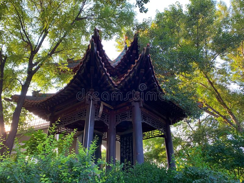 The bower in the park. A quaint bower in the Beilin park royalty free stock image