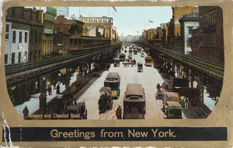The Bowery in 1906. NEW YORK , USA- CIRCA 1906: Vintage postcard depicting the Bowery with its Third avenue El, New York, USA, circa 1906. When the Dutch settled stock photo