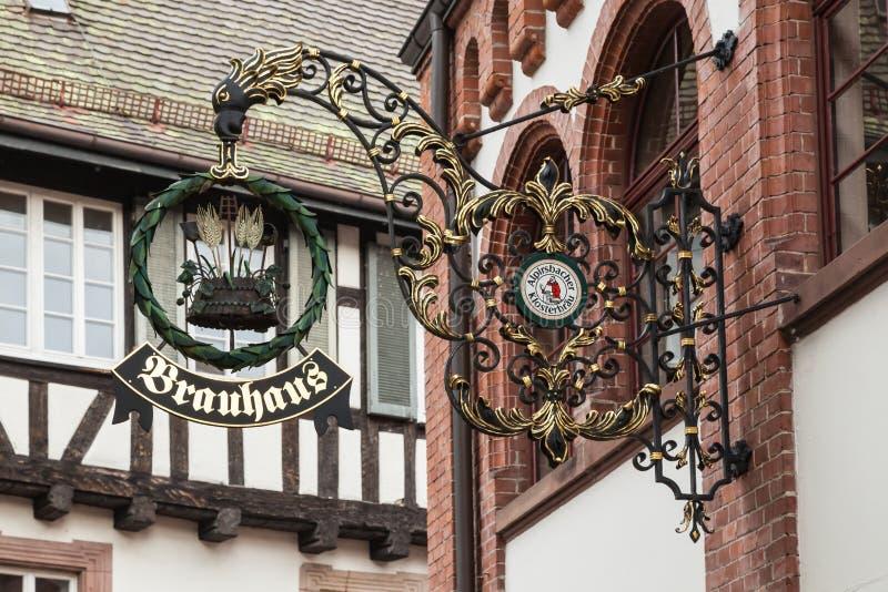 Bowery Zeichen an der Brauerei in Alpirsbach lizenzfreies stockfoto
