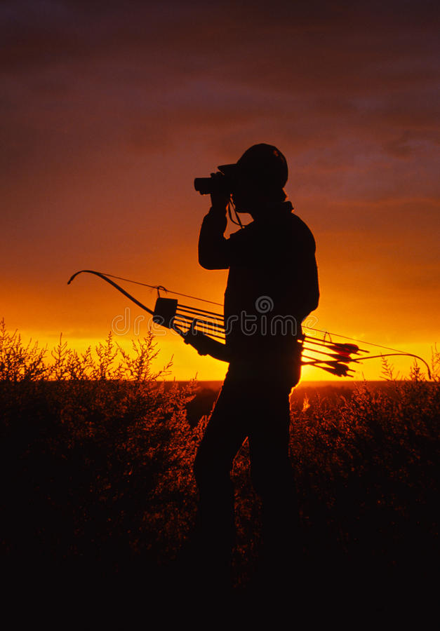 Download Bowhunter in Sunset stock photo. Image of draw, arrows - 17304888