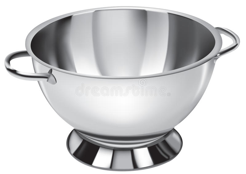Bowl. 3D illustration of a stainless steel bowl royalty free illustration