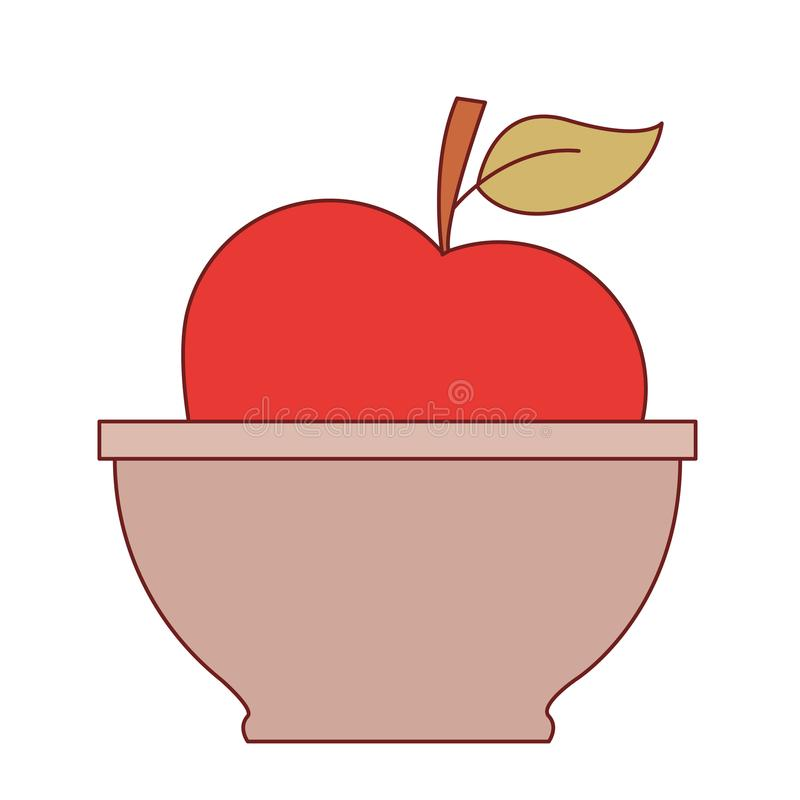 Bowl with apple close up in colorful silhouette with brown contour royalty free illustration