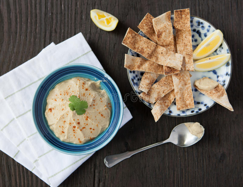 A Bowl of Baba Ghanouj with Pita Strips royalty free stock photo