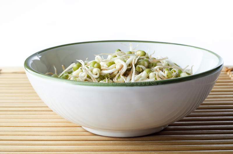 Download Bowl Of Beansprouts On Bamboo Placemat Stock Image - Image: 20277137