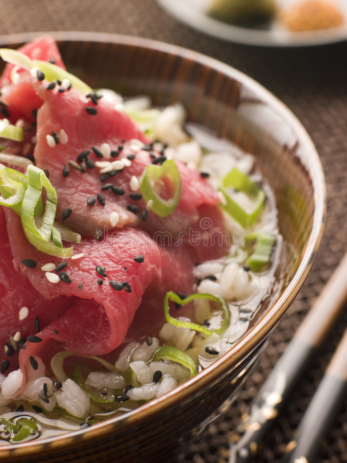 Bowl of Beef Fillet and Rice soup royalty free stock photo