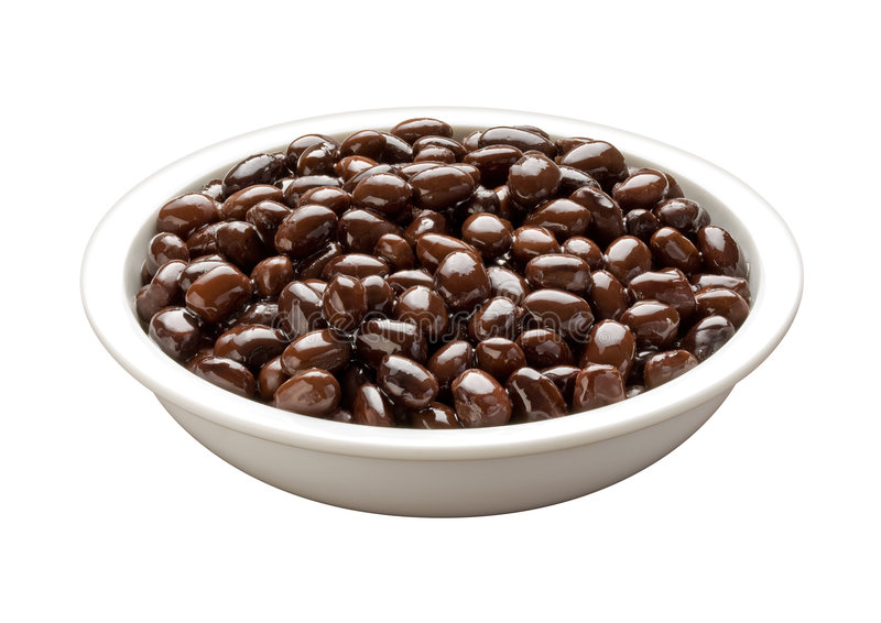 Bowl of Black Beans (with clipping path). Bowl of Black Beans on a white background (with clipping path). Isolation is on a transparent layer in the PNG format stock photos