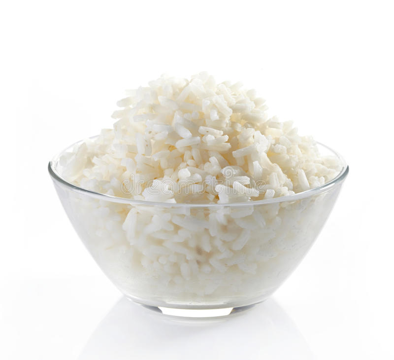 Bowl of boiled rice royalty free stock images