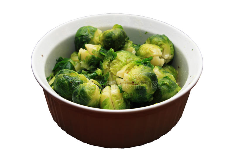 Bowl of brussel sprouts. White bowl of cooked brussel sprouts isolated on white royalty free stock images