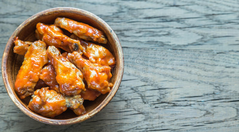 Bowl of buffalo chicken wings royalty free stock images