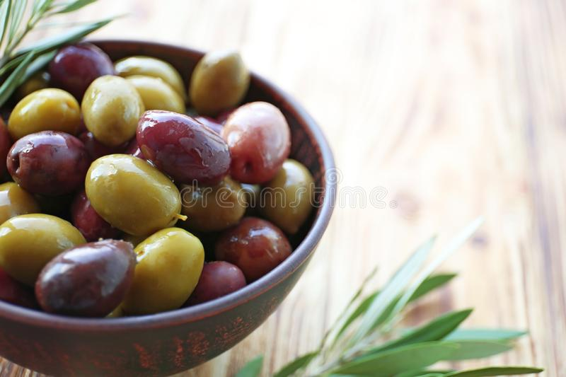 Bowl with canned olives stock photos