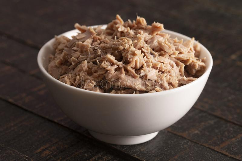 Bowl of Canned Tuna Fish Mixed with Mayonnaise stock photos
