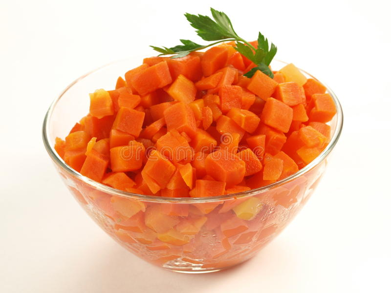 Bowl of carrot, isolated. Bowl of steamed carrot on isolated background stock photography