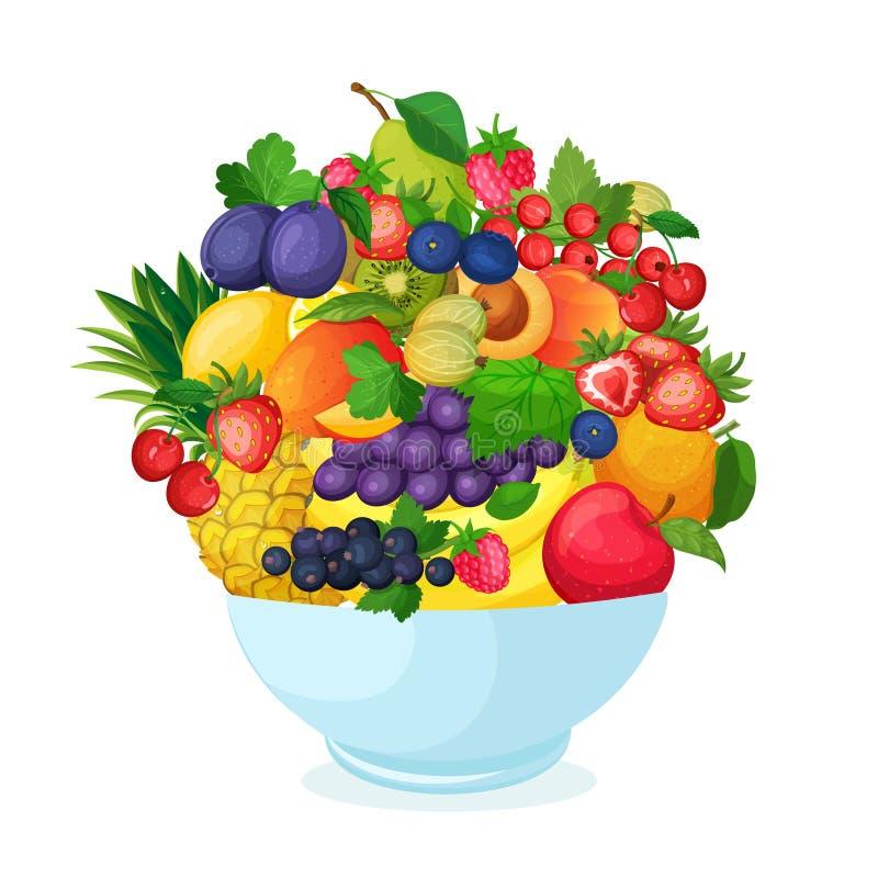 Bowl of cartoon fresh fruit and berries. stock illustration