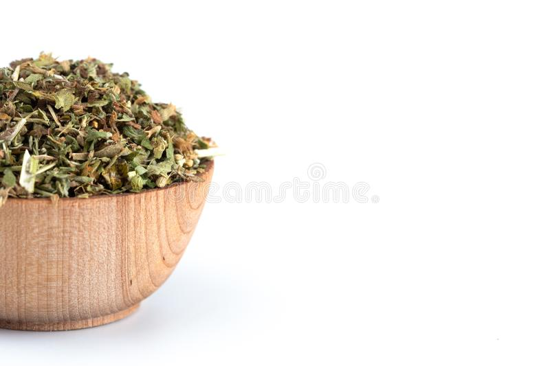 Bowl of Catnip on a White Background. A Bowl of Catnip on a White Background royalty free stock image