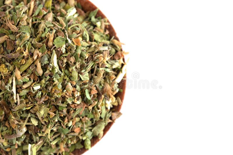 Bowl of Catnip on a White Background. A Bowl of Catnip on a White Background stock photography