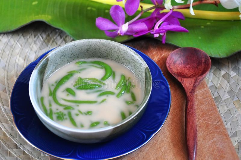 Bowl of Cendol Traditional Deesert. Bowl of Cendol traditional dessert put on wooden board with spoon royalty free stock images
