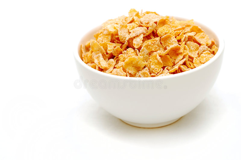 Bowl of cereal 2. Bowl of cereal, high-key style, set off-center to right royalty free stock photos