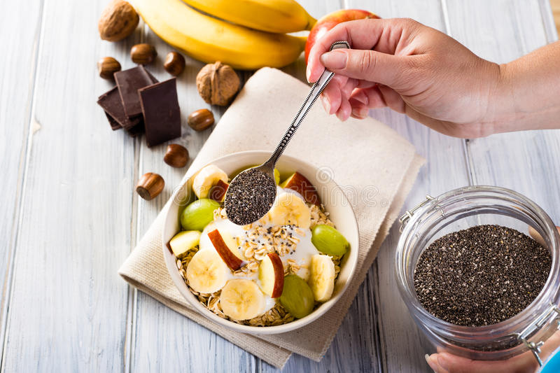 Bowl of cereal and chia seeds. Healthy breakfast. royalty free stock image