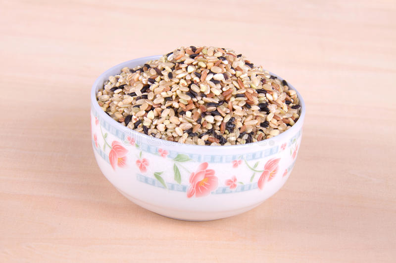 A bowl of cereals. On the table royalty free stock images