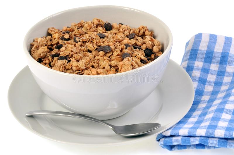Bowl of cereals without milk. Close up for breakfast isolated royalty free stock photos