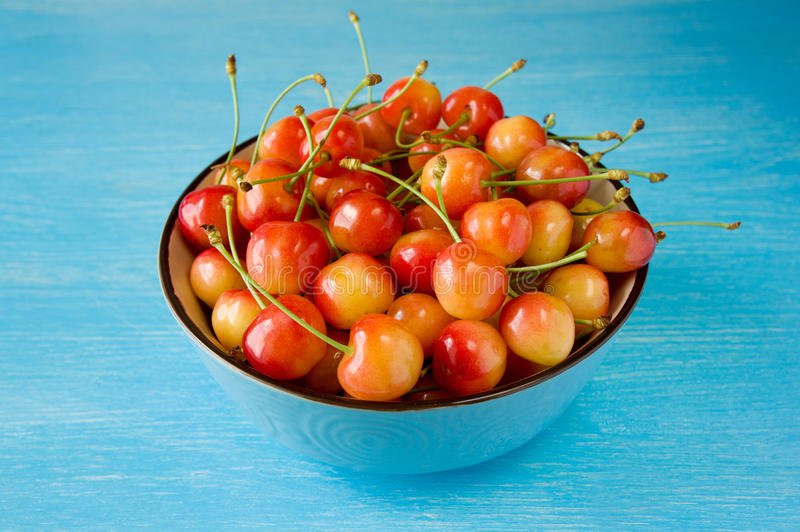 A bowl cherry. sweet cherries with a thin skin and thick creamy- stock images