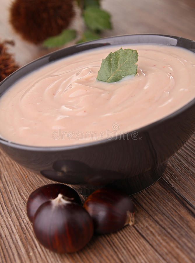 Bowl of chestnut soup stock photography