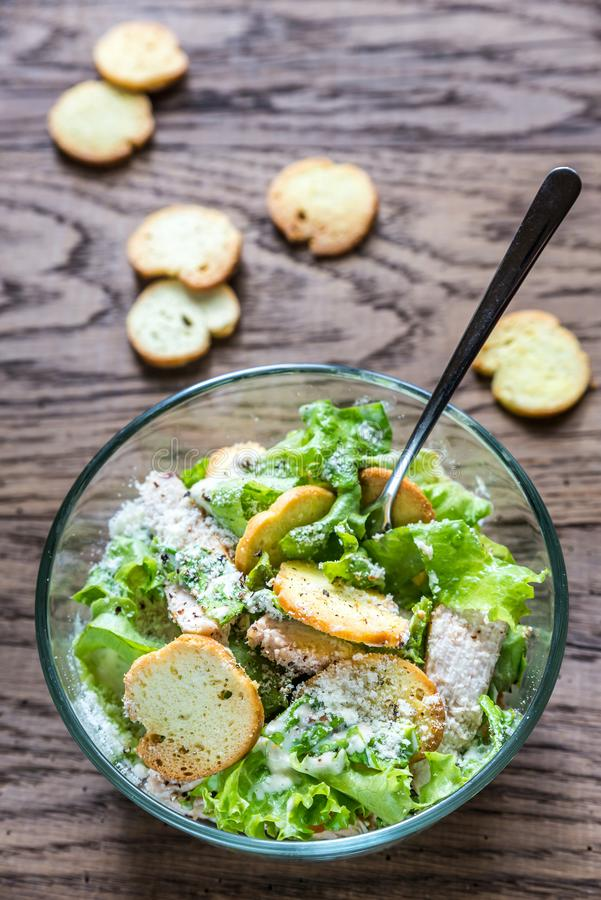 Bowl of chicken Caesar salad royalty free stock photo