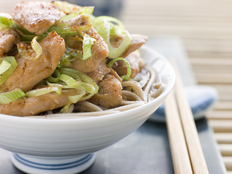 Bowl of Chicken and Leek Soba Noodles in Broth stock photo