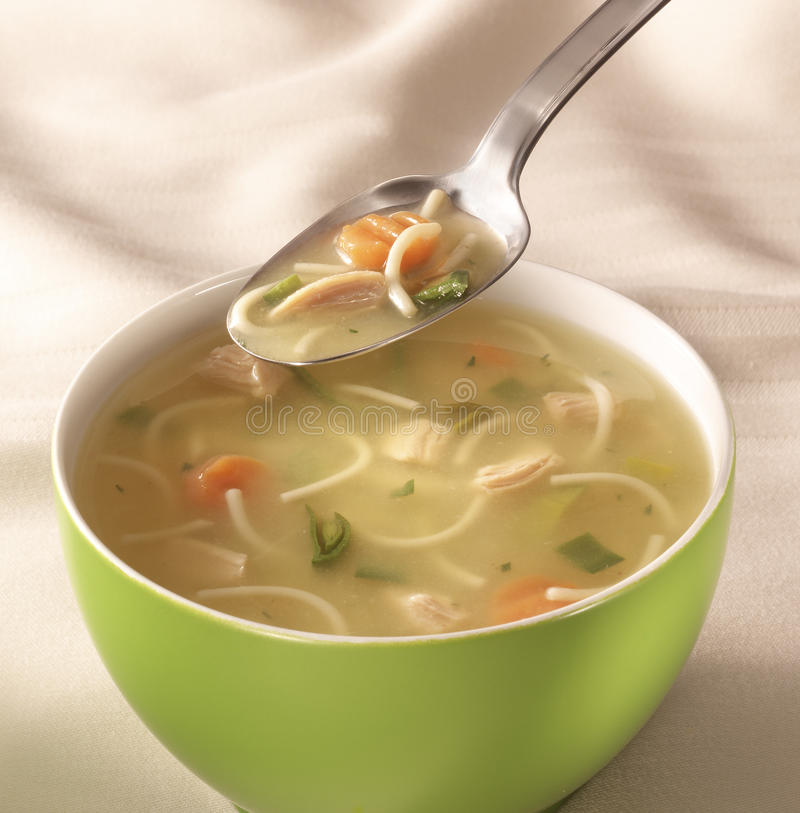 Bowl of chiken soup stock images