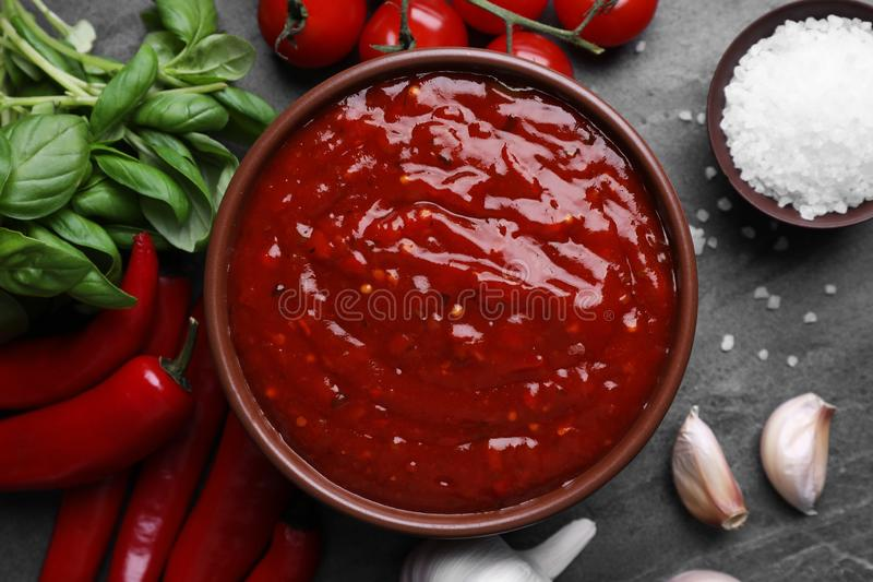 Bowl of chili sauce and ingredients on grey table. Top view stock photography